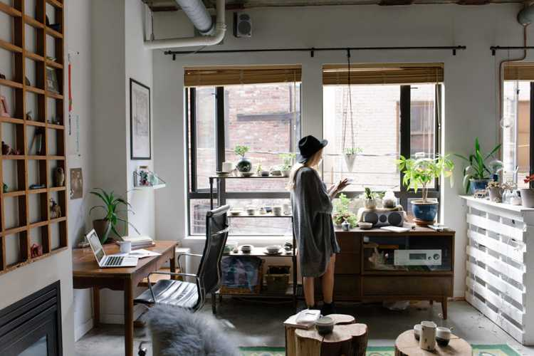 a young lady in a beautiful office