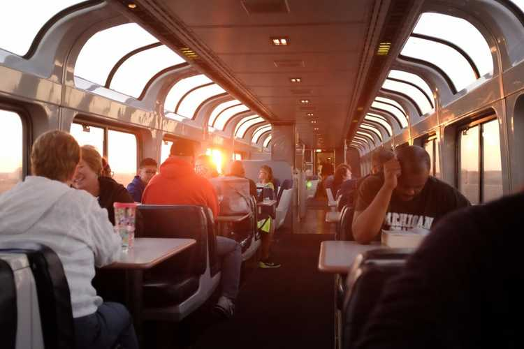 The splendid Observation Deck onboard the California Zephyr