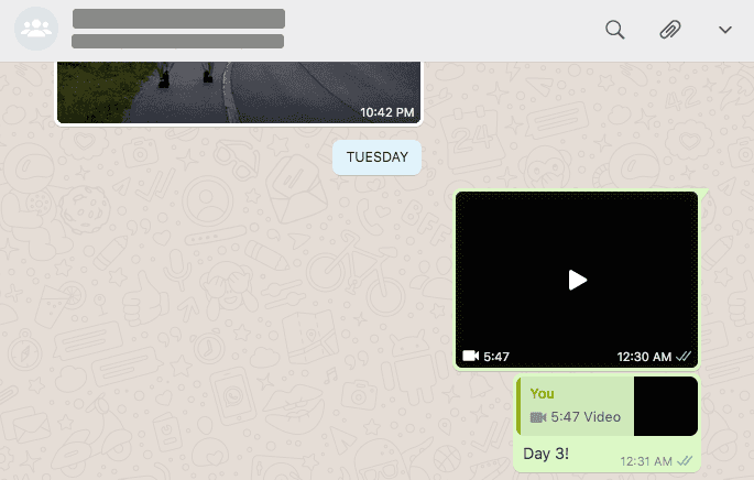 screenshot of whatsapp showing me sharing my finished movie for the day