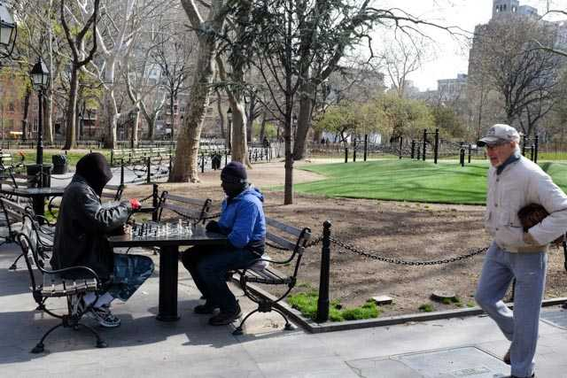 Chess players at Washing Square Park