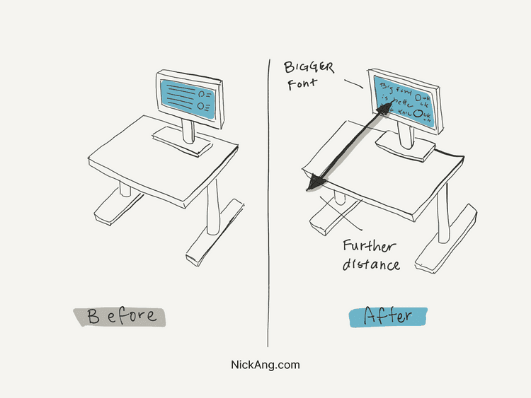 Illustration of two external monitor setups, one with larger font and farther distance - that is recommended for reducing eyestrain!