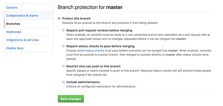 screenshot of github interface for removing protected branch to replace git branch code step 2