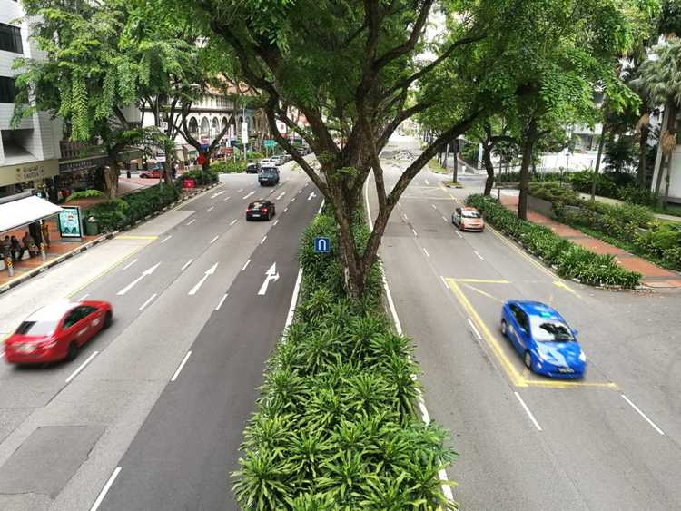 singapore roads viewed from overhead bridge