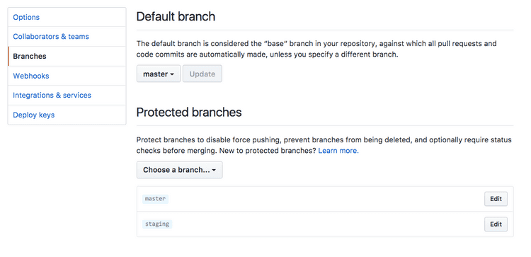 screenshot of github interface for removing protected branch to replace git branch code step 1