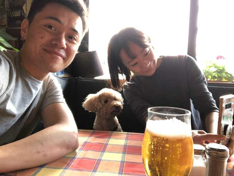 Our first day in Berlin at a restaurant with, believe it or not, our dog