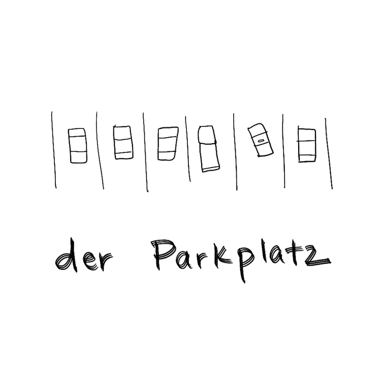 der parkplatz means the parking place in German