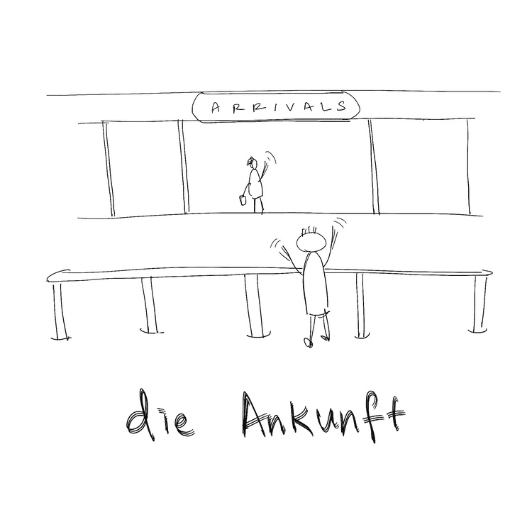die ankunft means the arrivals in German